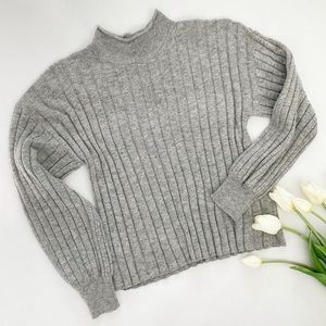 Leith   Wide Rib Mock Neck Sweater